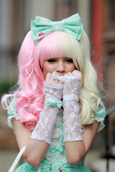 The mint green is ROCKING my world. The pink and blonde wig is just amazing with it. The gloves make it.