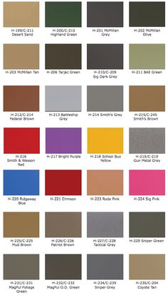 Cerakote Is the worlds BEST firearm coating. If your wanting to have your gun Coated in Cerakote here is your starting location a Full Cerakote Color Chart. Auto Paint, Gun Art, Hunting Rifles, Smith Wesson, Bright Purple, Car Painting, Cummins, Women Swimsuits, Firearms