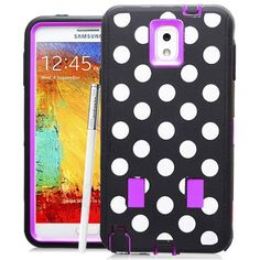 SAMSUNG GALAXY NOTE 3 CASE, SHOCKPROOF DIRT PROOF HYBRID ARMOR COVER (POLKA DOTS PURPLE) | #cellphonegadgets #mobileaccessories www.kuteckusa.com