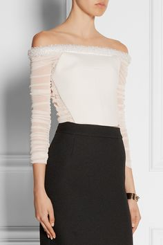 Balenciaga|Bead-embellished mesh-paneled basketweave crepe top|NET-A-PORTER.COM