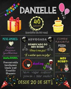 Chalkboard aniversário adulto. Bat Mitzvah, 30th Birthday, Chalkboard, Wedding Decorations, Birthdays, Baby Shower, Lettering, Party Ideas, Invitation Ideas