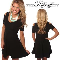 ONLINE EXCLUSIVE! Darling fit and flare dress with cutout open shoulders and flattering fit.