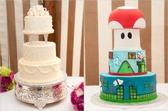 Traditional white wedding cake with monogram and a Mario-themed groom's cake! - Photos by Jason