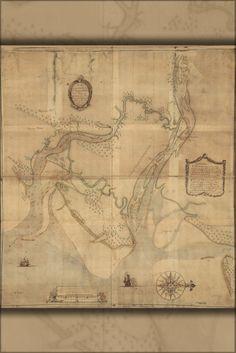 24x36 Poster; Map Of Rivers Of Savannah & Warsaw Georgia 1751; Antique Reprint