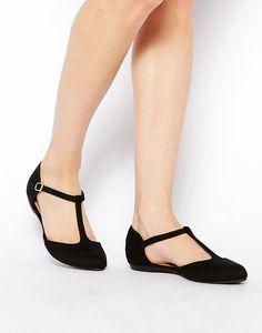 Image 1 ofNew Look Jupiter Black T Bar Flat Shoes: