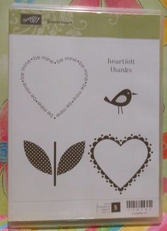 Stampin' Up! Retired SWEETHEART Clear Mount Valentine Stamp Set