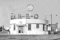 """The BAR-B-Q Building is still standing in Baltimore, on Dundalk Avenue, just south of Eastern Avenue. The building has since been converted into a used car dealership, but is currently vacant. The ""BAR-B-Q"" lettering was removed several years ago."""
