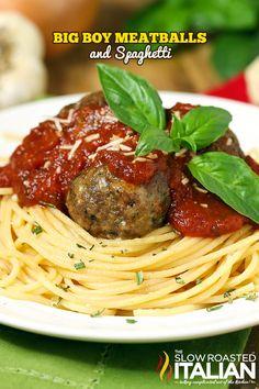 The perfect spaghetti and meatballs from TheSlowRoastedItalian.com
