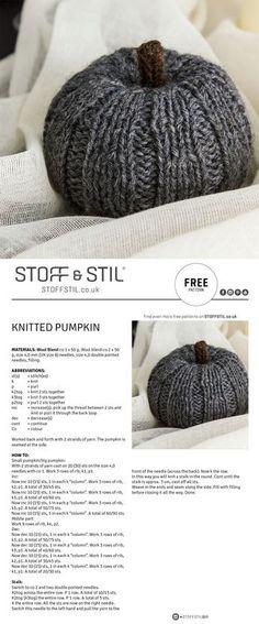 Free pattern for a knitted pumpkin - Super knitting Fall Knitting Patterns, Easy Knitting, Loom Knitting, Knitting Projects, Crochet Projects, Crochet Motifs, Knit Or Crochet, Crochet Patterns, Crochet Pumpkin