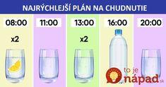Mnohí ľudia si myslia, že schudnú len vtedy, keď budú hladovať a drieť v posilňovni od rána do večera. Málokto si však uvedomuje, že tajomstvo zdravia a aj štíhlej postavy je ukryté hlavne vo vode. Ak nepijete dostatočne a v správny čas, chudnutie nebude zdravé a výsledok nebude nikdy trvalý. Väčšina ľudí pije len polovicu... Health Fitness, Healthy Recipes, Healthy Food, Exercise, Bathroom, Buxus, Bath Room, Healthy Nutrition, Full Bath