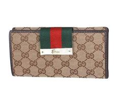 Gucci Continental Wallet with Web Closure in Coffee BXS