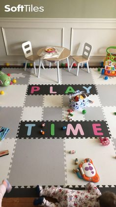 """It's always """"Play Time"""" in this beautiful playroom. This playroom floor uses SoftTiles light gray and white tiles with custom alphabet letters. See how you can add names or words to your playroom floor! Playroom Flooring, Foam Flooring, Foam Floor Tiles, Bathroom Floor Tiles, Puzzle Mat, Floor Puzzle, Foam Letters, Alphabet Letters, Baby Playroom"""