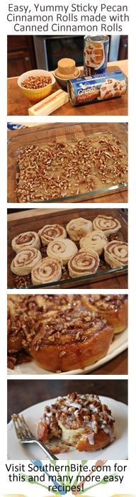 A quick and easy way to jazz up canned cinnamon rolls! An easy way to upgrade a can of cinnamon rolls. Will definitely make again! What's For Breakfast, Breakfast Dishes, Breakfast Recipes, Dessert Recipes, Breakfast Casserole, Breakfast Muffins, Morning Breakfast, Blueberry Breakfast, Just Desserts