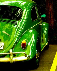 green. vintage. shiny.  This is simular to the color and age of my first car.  61 VW Bug - Neon Green with shag carpet all over the interior.