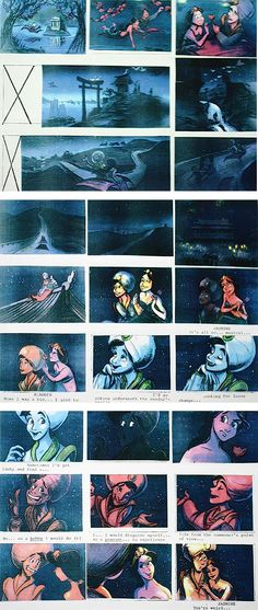 Film: Aladdin ===== A Whole New World Storyboards (Pages 7-9)