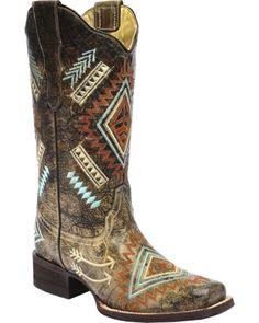 7b7147d117c9 Corral Multicolored Diamond Embroidered Cowgirl  boots - Square Toe