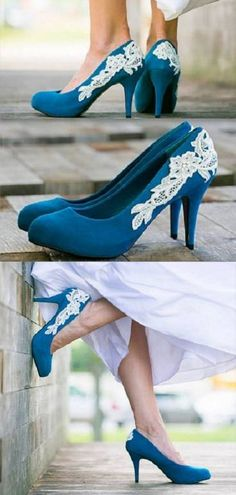 www.feminiya.com  Blue wedding shoes