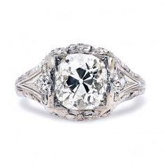 Vintage Antique Diamond Engagement Ring | Edwardian Antique Diamond Flower Ring