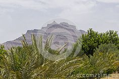 The view from the oases in the sahara desert toward the high mountains in Morocco . Akdaz city. Africa.