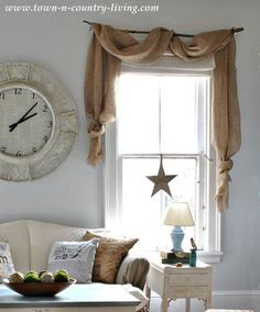 Country Decorating Style in a Family Room - Curtain swags made from landscape burlap~ might do this in my kitchen since I just did a very rustic glaze on them! Going for a very informal country-lake -lodge theme~ HRW