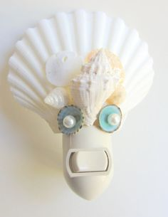 Beach Decor  Scallop and Limpet Shell Night Light by CereusArt, $15.00
