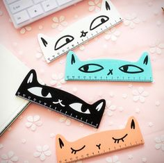 Kawaii Cat Ruler, Wooden, Stationary Writing School Supplies, Kitty Eyes - Kawaii Cat Ruler Wooden Stationary Writing School by mopapo The Effective Pictures We Offer Yo - Wooden Ruler, School Suplies, Cute Stationary, Stationary Store, Kawaii Stationery, Kawaii Cat, Office And School Supplies, School Office, School Kids