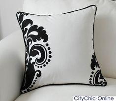 45CM x 45CM Home Decor Black & White French Style Fleur-de-lis Cushion Cover-A #CushionCover