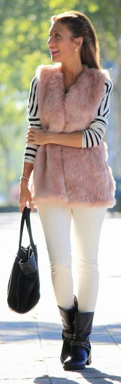 Pink Faux Fur Vest by Lola Mansil Fashion Diary
