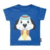 Coq en Pâte MIBO lasten t-paita. Aiheena sininen koira. 100 % luomupuuvillaa. Myynnissä lastenverkkokauppa.fi. Valmistaja Coq en Pâte.