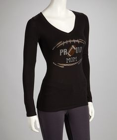 Take a look at this Black 'Proud Football Mom' V-Neck Tee - Women & Plus on zulily today!