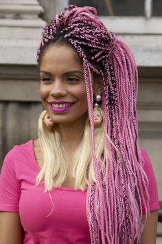 box braids, pink hair, pink afro hair, colorful hair, colorful afro