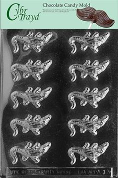 Cybrtrayd A013 Small Alligators Chocolate Candy Mold with Exclusive Cybrtrayd Copyrighted Chocolate Molding Instructions CybrTrayd