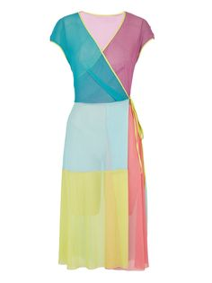 Colourblock Wrap Dress Multi-Colour_marianne fasler