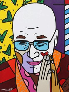 21 Dalai Lama by Romero Britto Born: October 6, 1963 Recife, Pernambuco, Brazil. A Neo-pop artist, painter, serigrapher, and sculptor. He combines elements of cubism, pop art and graffiti painting in his work, using vibrant colors and bold patterns.