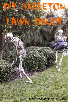 DIY Skeleton Lawn Decor for Halloween - Instructions for how to pose a set of skeletons in your yard for Halloween!