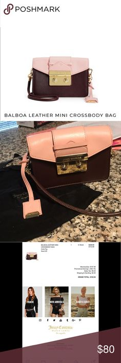 Juicy Couture Leather Mini Crossbody Bag Juicy Couture Leather Mini Crossbody Bag. Great condition! Perfect for summer & fall. Luxurious look. Very secure bag. Juicy Couture Bags Crossbody Bags