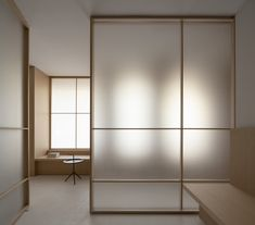 Ash wood, glass and brass feature inside Valencia's Swiss Concept clinic, which Francesc Rifé Studio has designed in reference to Eastern meditation rooms. Decor, House Design, Minimalist Interior, Interior, Home, Japanese Interior Design, Office Interiors, House Interior, Meditation Space