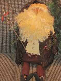 Primitive WoodLand FarmHouse  Santa doll by oldefarmhouseroad