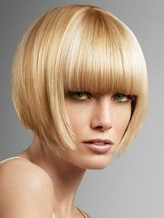 inverted bob with severe bangs