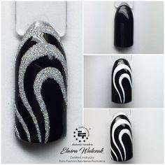 French Acrylic Nails, Square Acrylic Nails, Trendy Nail Art, Cool Nail Art, Nail Painting Tips, Black Silver Nails, Easter Nail Art, Finger Nail Art, Nail Polish Art