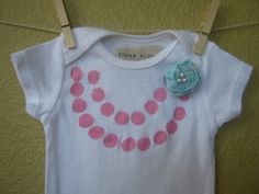 Onesie with Pink Gumball Necklace and Aqua Satin Rosette $12.00