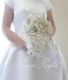 Ivory French Beaded Flower wedding bouquet by Lauren Harpster of Lauren's Creations