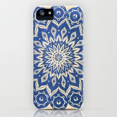 Tribal blue and white iphone case