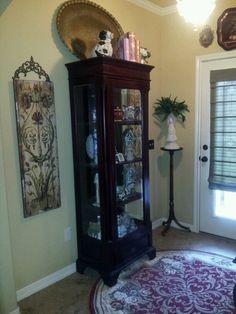 Foyer ~ via Patti Taylor.  Someday I want a china cabinet.