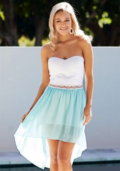 Mint Hi-lo Bodice - Dress. Amazing sweet mint chiffon bandeau dress featuring delicate Hi-lo hem, lace band detailing at waist and. partially lined, zip closure at back.