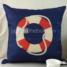 Lifebelt Pattern Cotton/Linen Decorative Pillow Cover - GBP £10.21