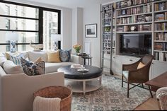 Note:  Built in TV / Bookshelves  Downtown Condo - transitional - Family Room - Boston - Twelve Chairs