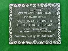 Aluminum Plaque with special border - congrats on National Register Status! cast aluminum plaque by Erie Landmark Company a division of Paul W. Zimmerman Foundries celebrating 75 years of plaques! Find us on the web at www.erielandmark.com or place an order at info@erielandmark.com.