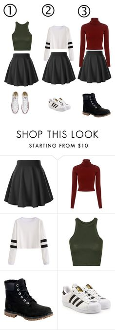 """""""Which one???"""" by ammarah-razvi ❤ liked on Polyvore featuring A.L.C., Topshop, Timberland, adidas Originals and Converse"""