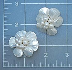 Freshwater Pearls Mother Of Pearl Clip Earrings 1 3/8 inches.
